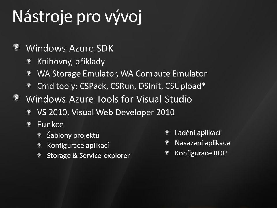 Nástroje pro vývoj Windows Azure SDK Knihovny, příklady WA Storage Emulator, WA Compute Emulator Cmd tooly: CSPack, CSRun, DSInit, CSUpload* Windows Azure Tools for Visual Studio VS 2010, Visual Web Developer 2010 Funkce Šablony projektů Konfigurace aplikací Storage & Service explorer Ladění aplikací Nasazení aplikace Konfigurace RDP