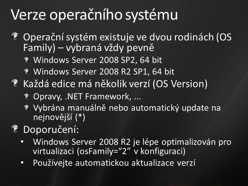 Verze operačního systému Operační systém existuje ve dvou rodinách (OS Family) – vybraná vždy pevně Windows Server 2008 SP2, 64 bit Windows Server 2008 R2 SP1, 64 bit Každá edice má několik verzí (OS Version) Opravy,.NET Framework,...
