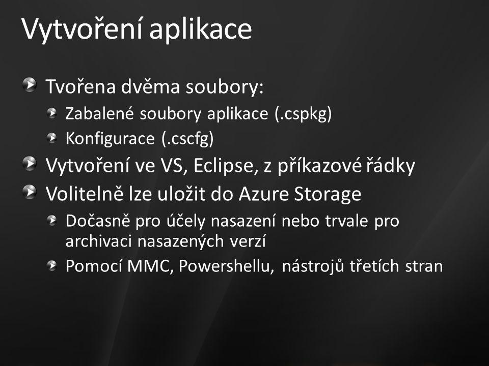 Vytvoření aplikace Tvořena dvěma soubory: Zabalené soubory aplikace (.cspkg) Konfigurace (.cscfg) Vytvoření ve VS, Eclipse, z příkazové řádky Volitelně lze uložit do Azure Storage Dočasně pro účely nasazení nebo trvale pro archivaci nasazených verzí Pomocí MMC, Powershellu, nástrojů třetích stran