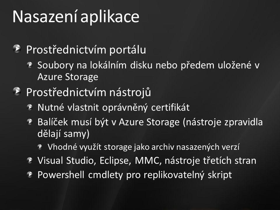 Nasazení aplikace Prostřednictvím portálu Soubory na lokálním disku nebo předem uložené v Azure Storage Prostřednictvím nástrojů Nutné vlastnit oprávněný certifikát Balíček musí být v Azure Storage (nástroje zpravidla dělají samy) Vhodné využít storage jako archiv nasazených verzí Visual Studio, Eclipse, MMC, nástroje třetích stran Powershell cmdlety pro replikovatelný skript