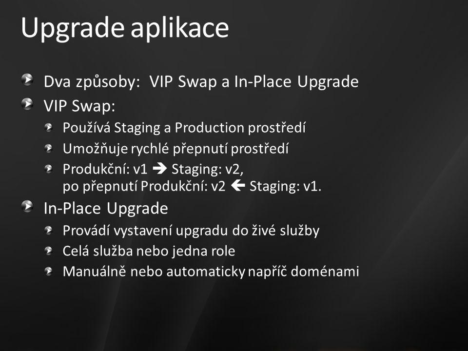Upgrade aplikace Dva způsoby: VIP Swap a In-Place Upgrade VIP Swap: Používá Staging a Production prostředí Umožňuje rychlé přepnutí prostředí Produkční: v1  Staging: v2, po přepnutí Produkční: v2  Staging: v1.