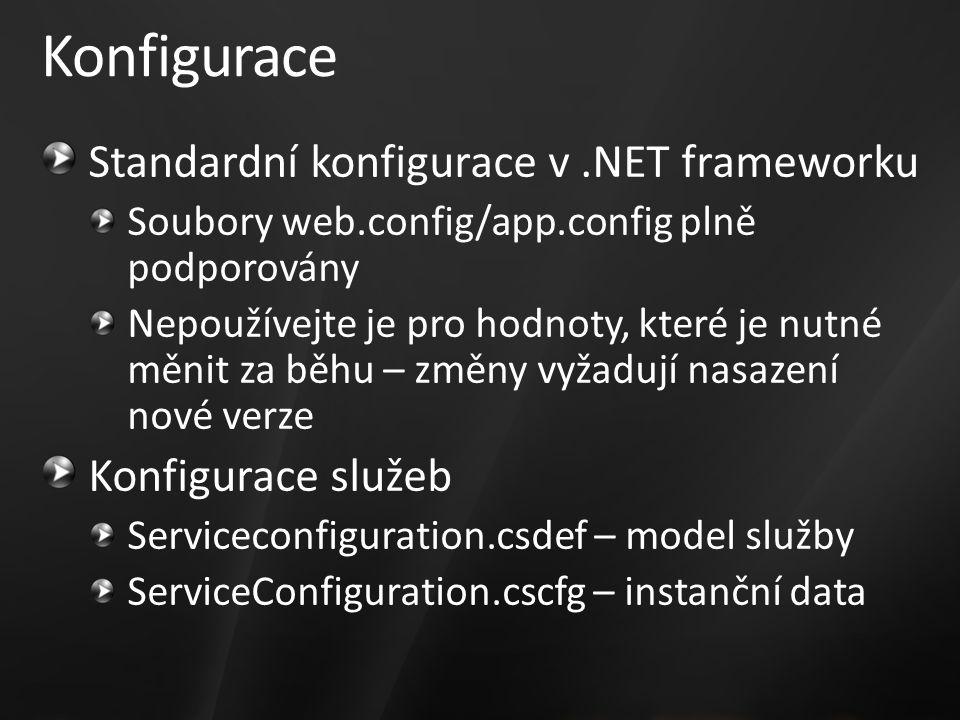 Konfigurace Standardní konfigurace v.NET frameworku Soubory web.config/app.config plně podporovány Nepoužívejte je pro hodnoty, které je nutné měnit za běhu – změny vyžadují nasazení nové verze Konfigurace služeb Serviceconfiguration.csdef – model služby ServiceConfiguration.cscfg – instanční data