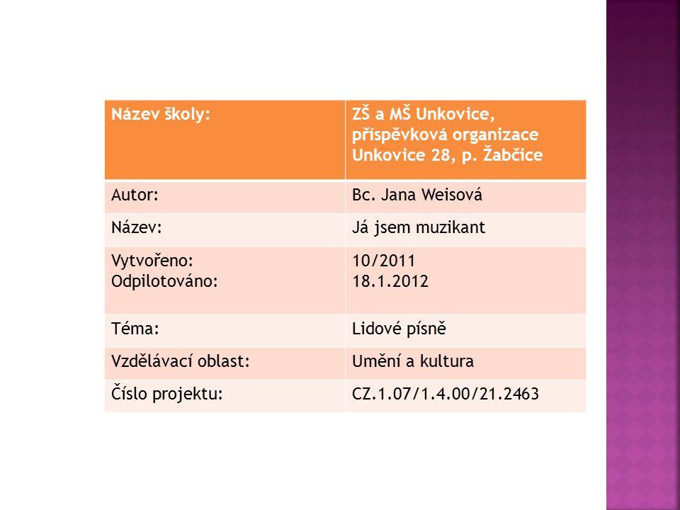 Název školy:ZŠ a MŠ Unkovice, příspěvková organizace Unkovice 28, p.