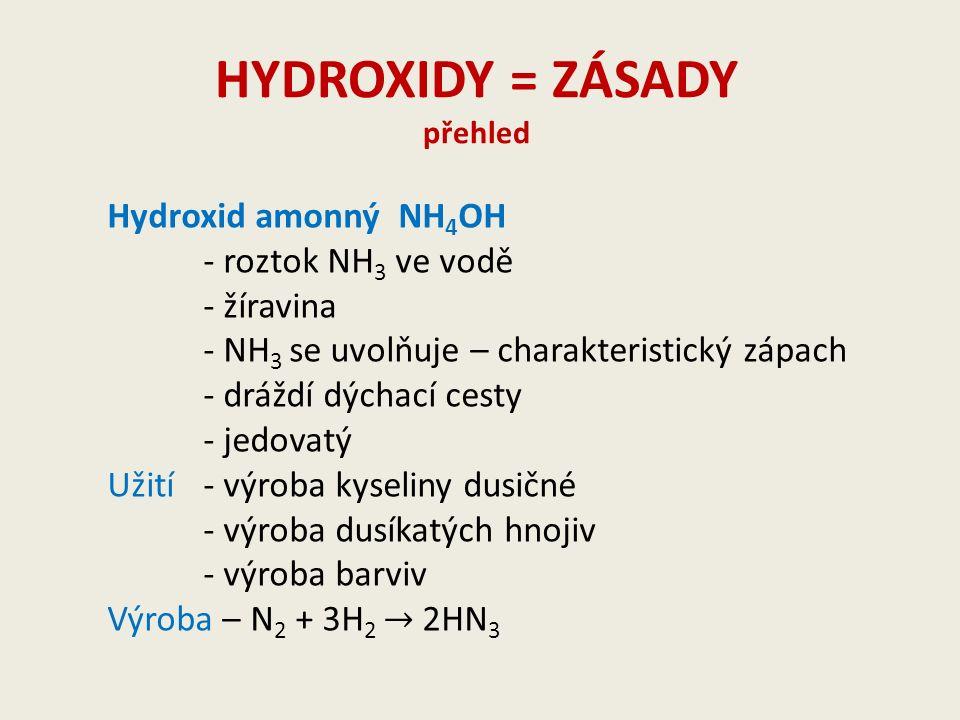 HYDROXIDY = ZÁSADY přehled Hydroxid amonný NH 4 OH - roztok NH 3 ve vodě - žíravina - NH 3 se uvolňuje – charakteristický zápach - dráždí dýchací cesty - jedovatý Užití- výroba kyseliny dusičné - výroba dusíkatých hnojiv - výroba barviv Výroba – N 2 + 3H 2 → 2HN 3