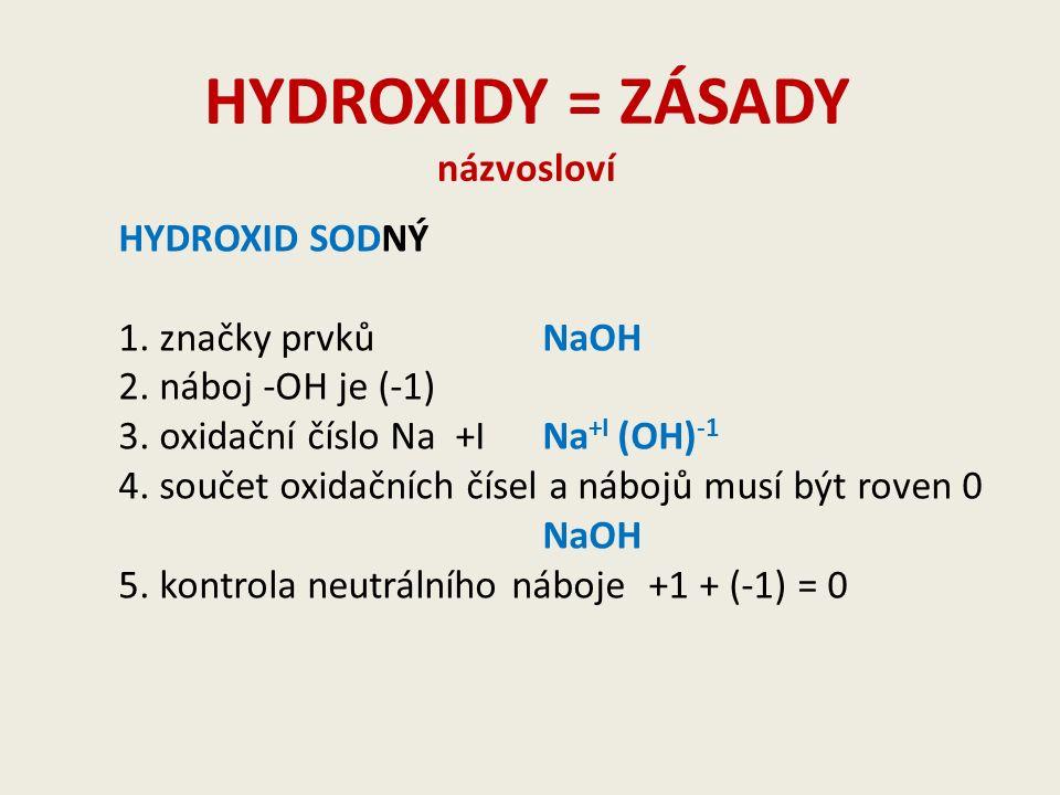 HYDROXIDY = ZÁSADY názvosloví HYDROXID SODNÝ 1. značky prvkůNaOH 2.