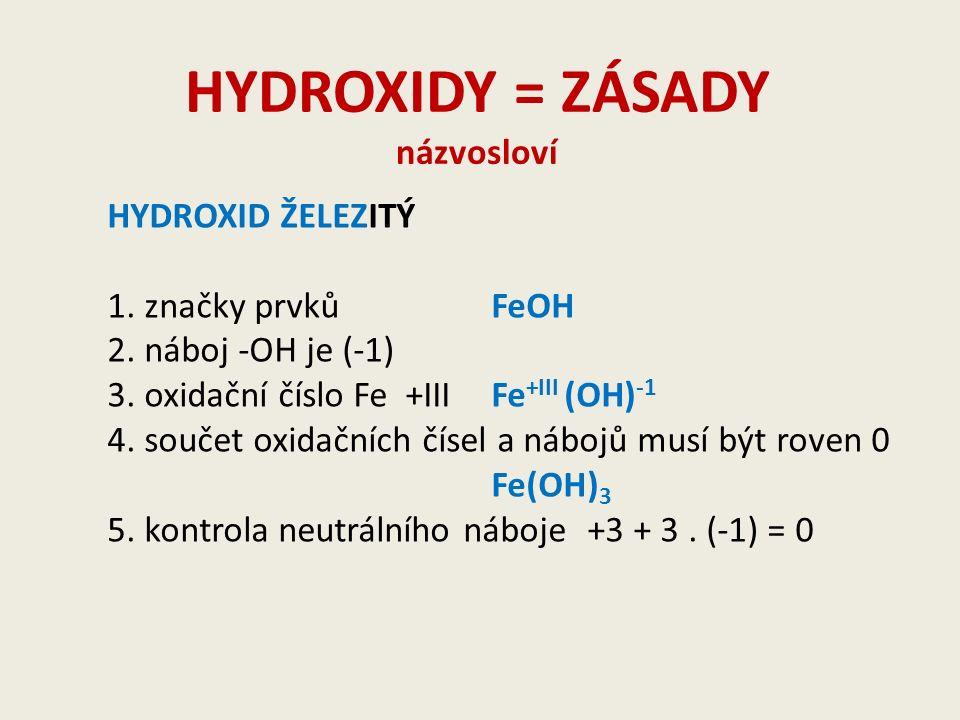 HYDROXIDY = ZÁSADY názvosloví KOH 1.určení oxidačního čísla Kx + 1.