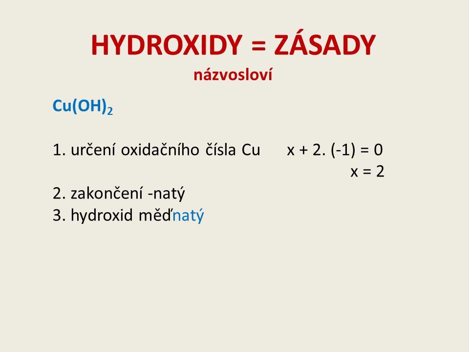 HYDROXIDY = ZÁSADY názvosloví Cu(OH) 2 1. určení oxidačního čísla Cux + 2.
