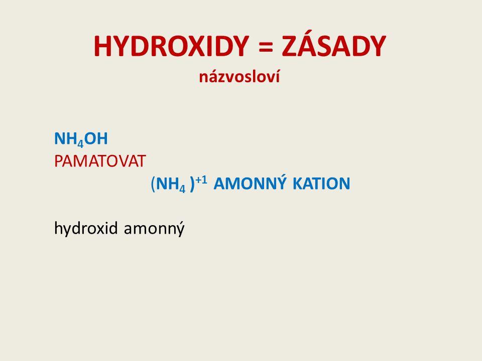 HYDROXIDY = ZÁSADY názvosloví NH 4 OH PAMATOVAT (NH 4 ) +1 AMONNÝ KATION hydroxid amonný