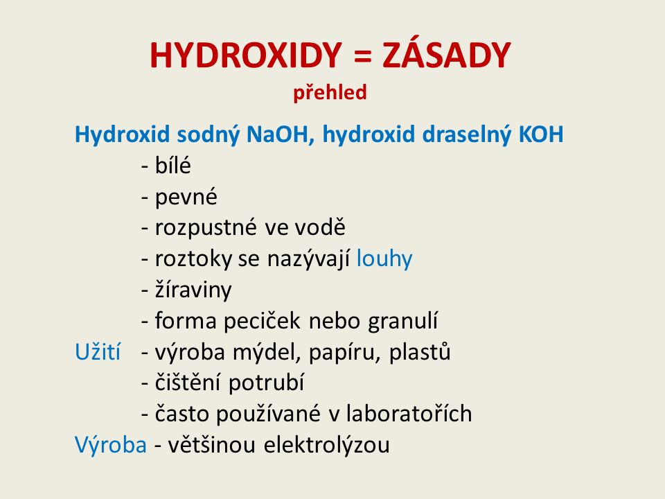 HYDROXIDY = ZÁSADY přehled Hydroxid sodný NaOH, hydroxid draselný KOH - bílé - pevné - rozpustné ve vodě - roztoky se nazývají louhy - žíraviny - forma peciček nebo granulí Užití - výroba mýdel, papíru, plastů - čištění potrubí - často používané v laboratořích Výroba - většinou elektrolýzou