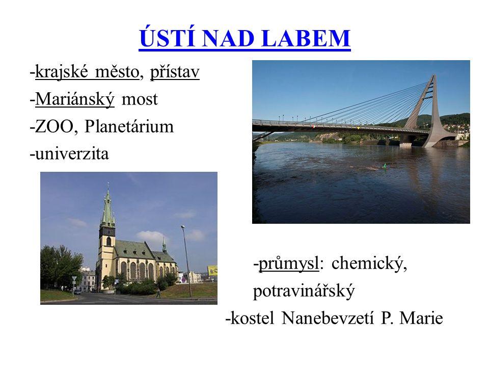 ÚSTÍ NAD LABEM -krajské město, přístav -Mariánský most -ZOO, Planetárium -univerzita -průmysl: chemický, potravinářský -kostel Nanebevzetí P.