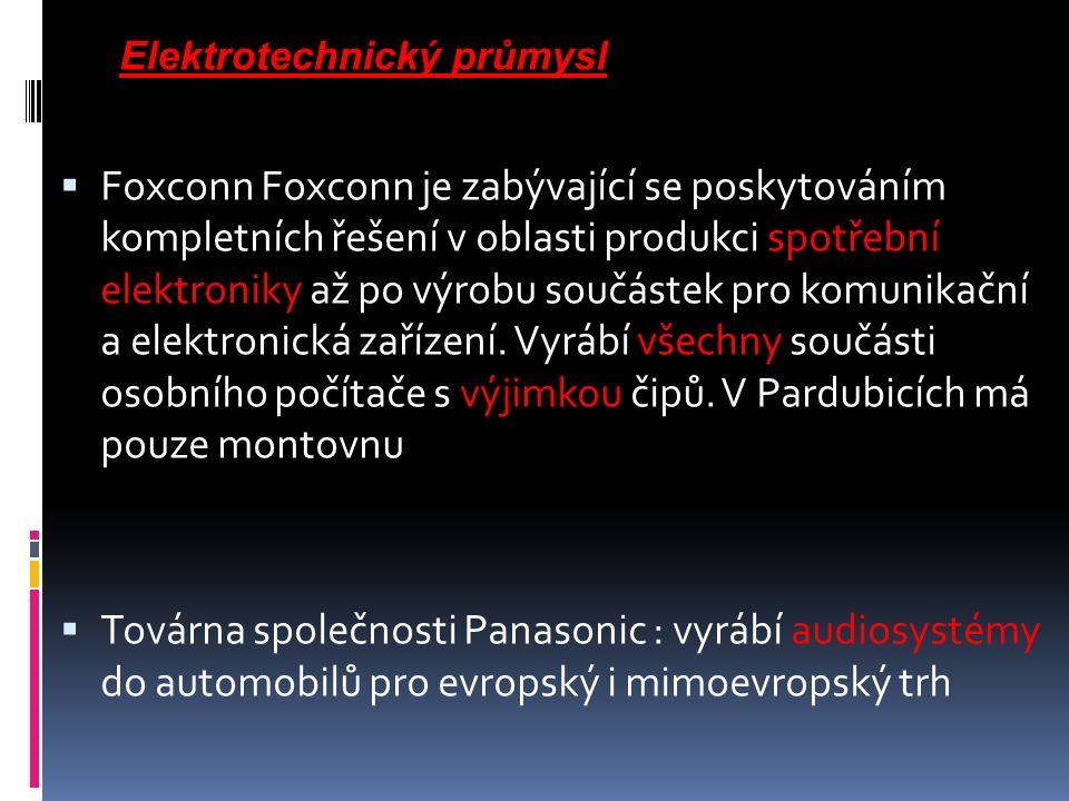  Foxconn Foxconn je zabývající se poskytováním kompletních řešení v oblasti produkci spotřební elektroniky až po výrobu součástek pro komunikační a elektronická zařízení.