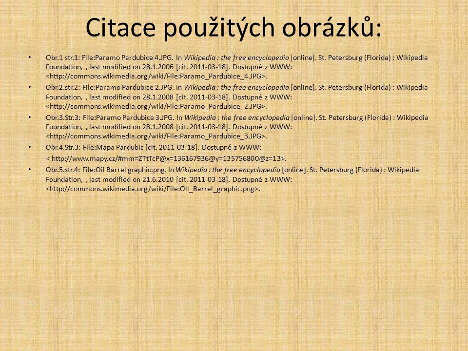 Citace použitých obrázků: Obr.1 str.1: File:Paramo Pardubice 4.JPG.