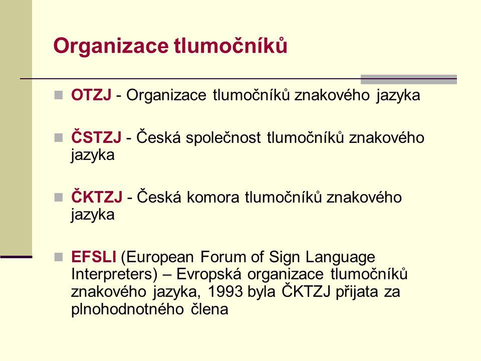 Organizace tlumočníků OTZJ - Organizace tlumočníků znakového jazyka ČSTZJ - Česká společnost tlumočníků znakového jazyka ČKTZJ - Česká komora tlumočníků znakového jazyka EFSLI (European Forum of Sign Language Interpreters) – Evropská organizace tlumočníků znakového jazyka, 1993 byla ČKTZJ přijata za plnohodnotného člena