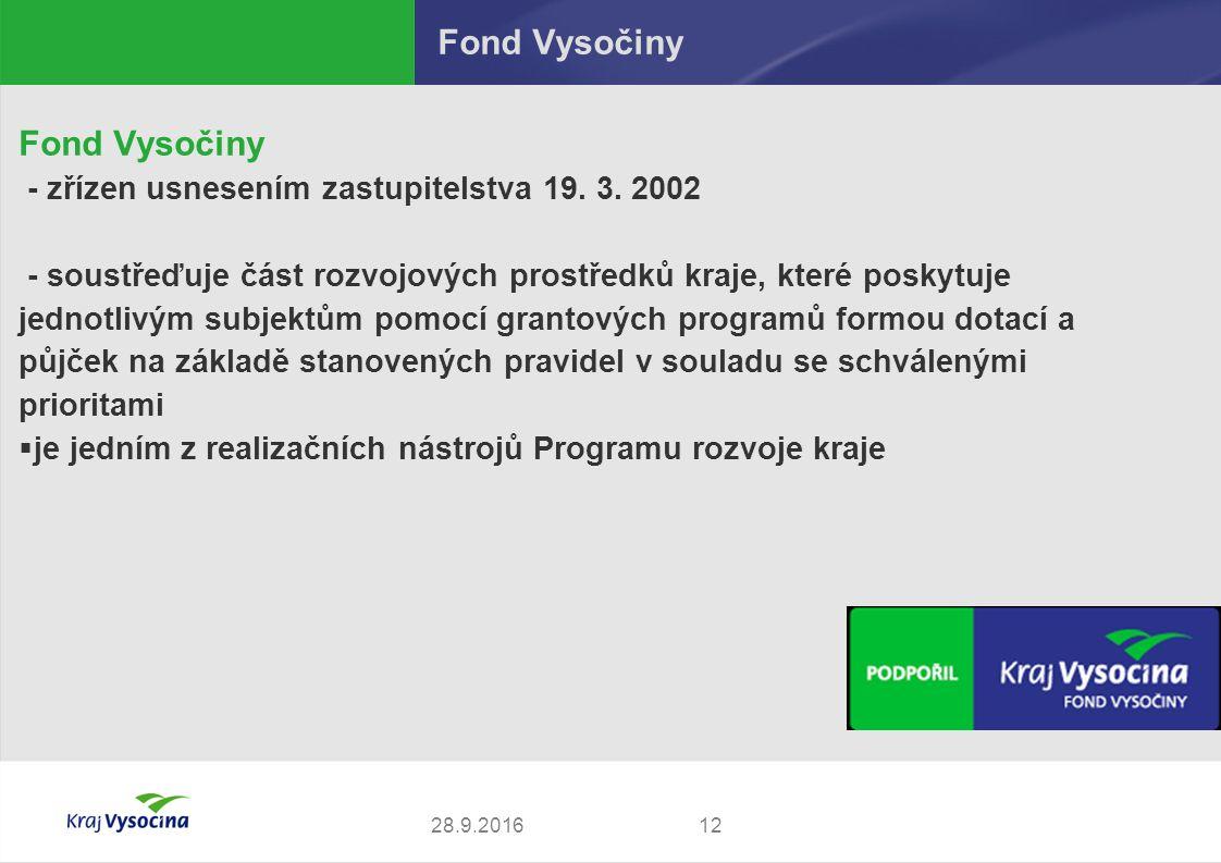 Fond Vysočiny - zřízen usnesením zastupitelstva 19. 3. 2002 - soustřeďuje část rozvojových prostředků kraje, které poskytuje jednotlivým subjektům pom