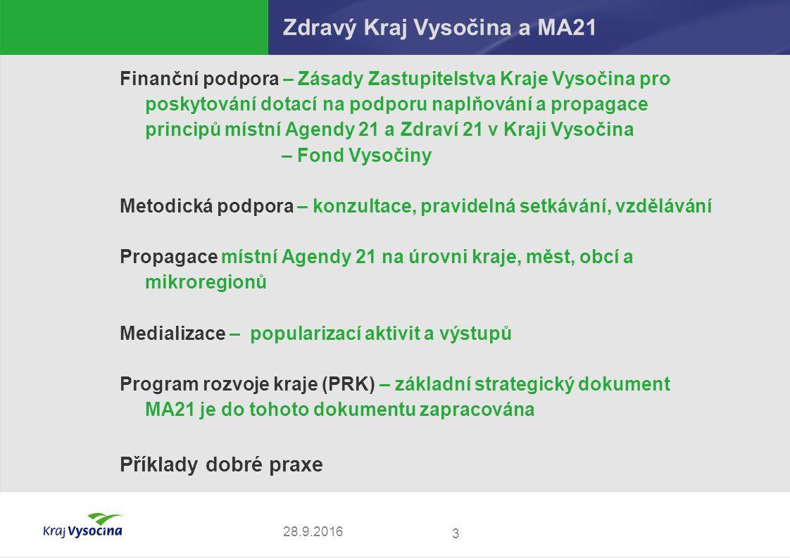 3 28.9.2016 Zdravý Kraj Vysočina a MA21 Finanční podpora – Zásady Zastupitelstva Kraje Vysočina pro poskytování dotací na podporu naplňování a propaga