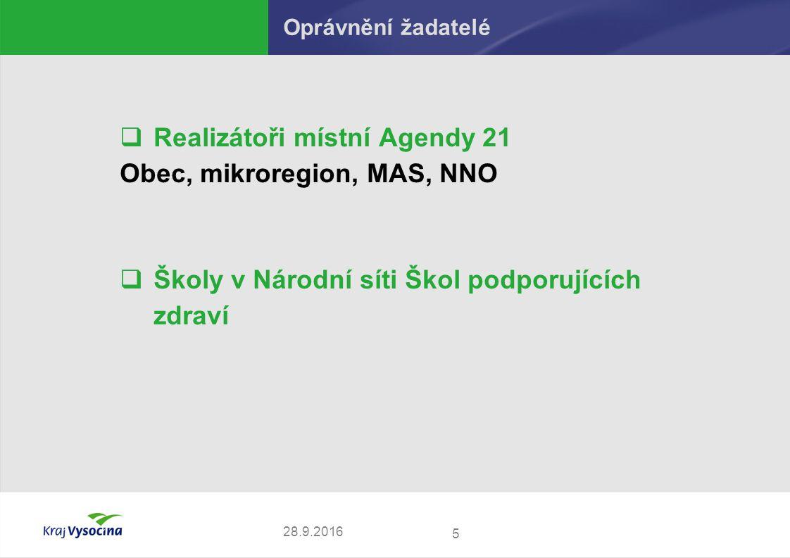 Oprávnění žadatelé  Realizátoři místní Agendy 21 Obec, mikroregion, MAS, NNO  Školy v Národní síti Škol podporujících zdraví 5 28.9.2016