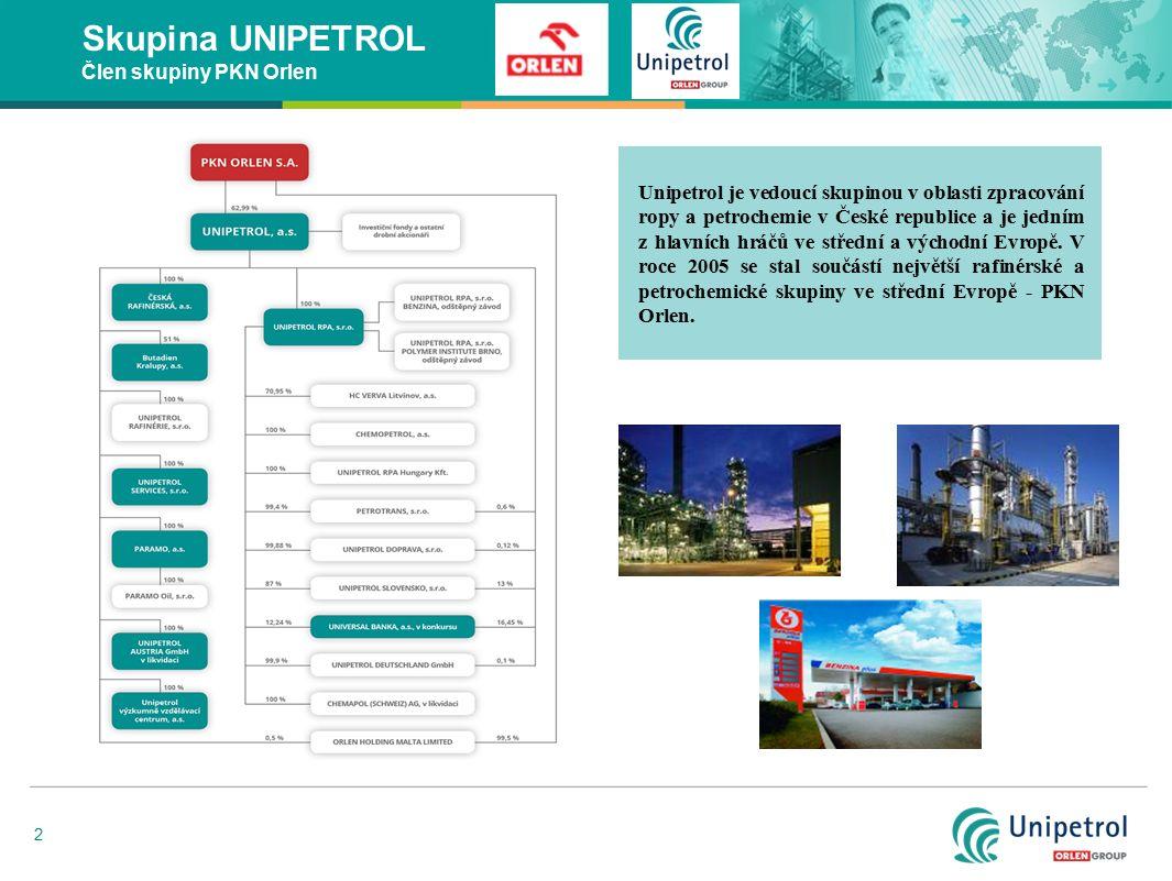 2 Skupina UNIPETROL Člen skupiny PKN Orlen Unipetrol je vedoucí skupinou v oblasti zpracování ropy a petrochemie v České republice a je jedním z hlavn