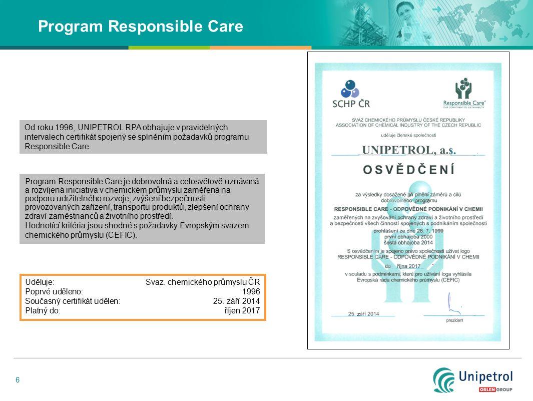 6 Program Responsible Care Program Responsible Care je dobrovolná a celosvětově uznávaná a rozvíjená iniciativa v chemickém průmyslu zaměřená na podpo