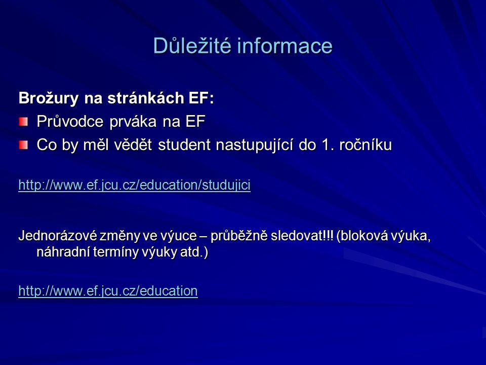Důležité informace Brožury na stránkách EF: Průvodce prváka na EF Co by měl vědět student nastupující do 1.