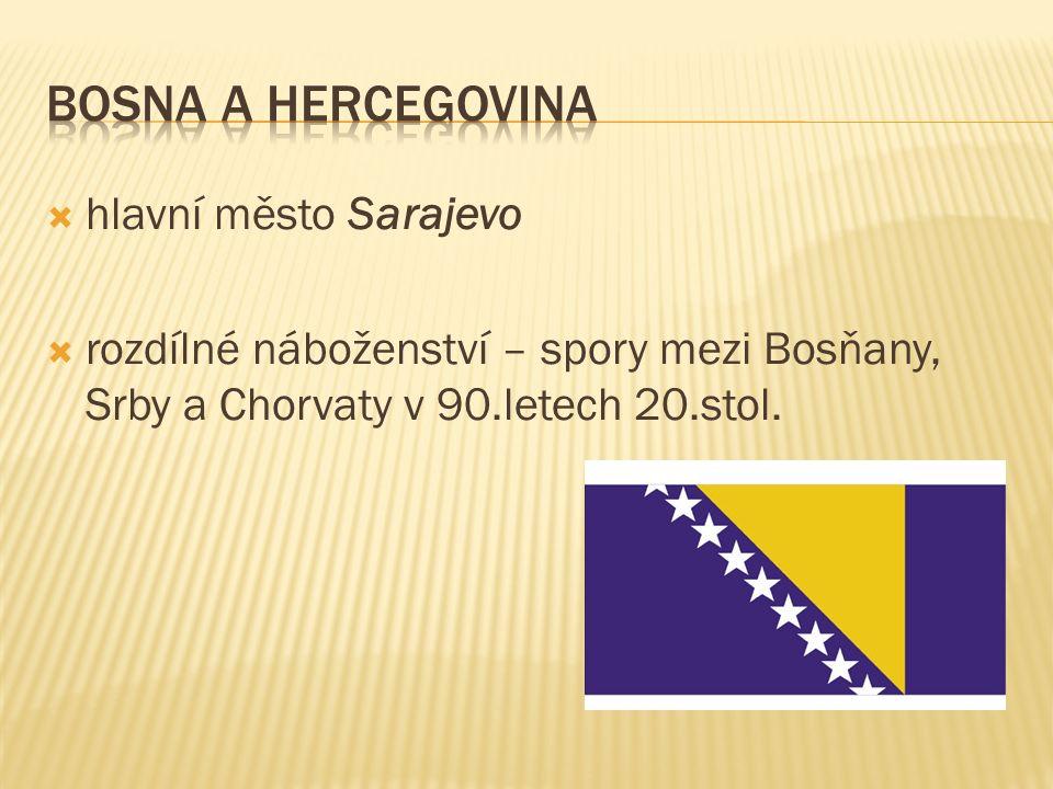 hlavní město Sarajevo  rozdílné náboženství – spory mezi Bosňany, Srby a Chorvaty v 90.letech 20.stol.