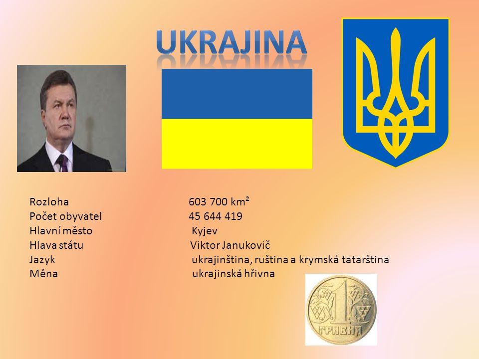 Rozloha 603 700 km² Počet obyvatel 45 644 419 Hlavní město Kyjev Hlava státu Viktor Janukovič Jazyk ukrajinština, ruština a krymská tatarština Měna ukrajinská hřivna