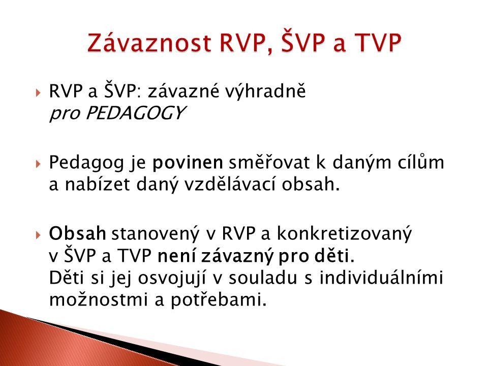  RVP a ŠVP: závazné výhradně pro PEDAGOGY  Pedagog je povinen směřovat k daným cílům a nabízet daný vzdělávací obsah.