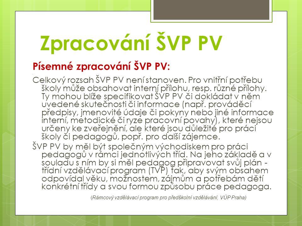 Písemné zpracování ŠVP PV:. Celkový rozsah ŠVP PV není stanoven.