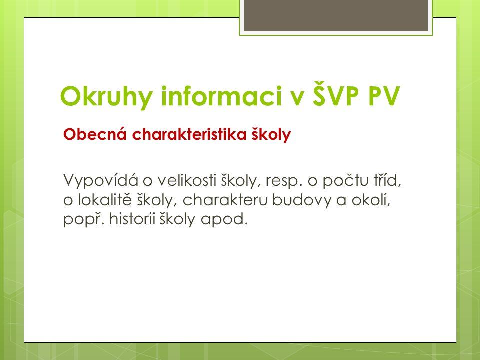 Okruhy informaci v ŠVP PV Obecná charakteristika školy Vypovídá o velikosti školy, resp.