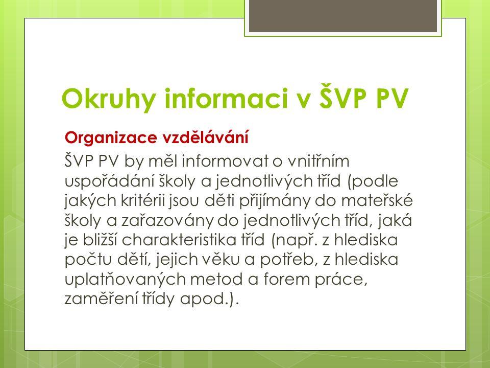 Okruhy informaci v ŠVP PV Organizace vzdělávání ŠVP PV by měl informovat o vnitřním uspořádání školy a jednotlivých tříd (podle jakých kritérii jsou děti přijímány do mateřské školy a zařazovány do jednotlivých tříd, jaká je bližší charakteristika tříd (např.