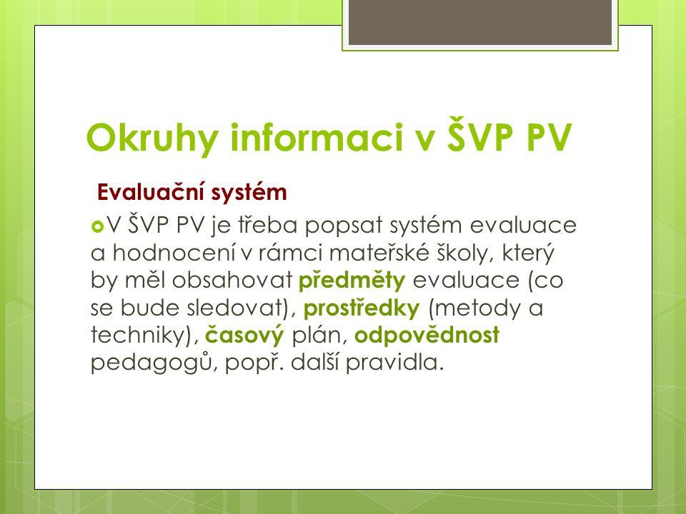 Okruhy informaci v ŠVP PV Evaluační systém  V ŠVP PV je třeba popsat systém evaluace a hodnocení v rámci mateřské školy, který by měl obsahovat předměty evaluace (co se bude sledovat), prostředky (metody a techniky), časový plán, odpovědnost pedagogů, popř.