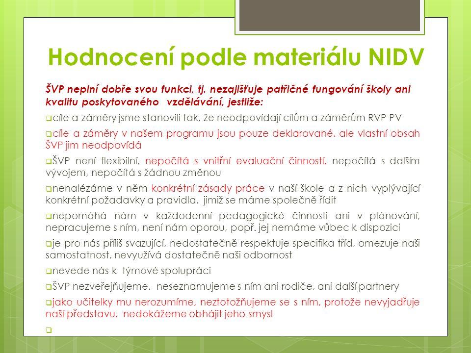 Hodnocení podle materiálu NIDV ŠVP neplní dobře svou funkci, tj.