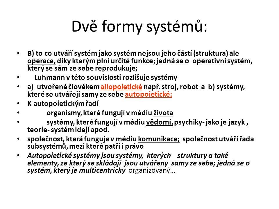 Dvě formy systémů: B) to co utváří systém jako systém nejsou jeho částí (struktura) ale operace, díky kterým plní určité funkce; jedná se o operativní systém, který se sám ze sebe reprodukuje; Luhmann v této souvislosti rozlišuje systémy a) utvořené člověkem allopoietické např.