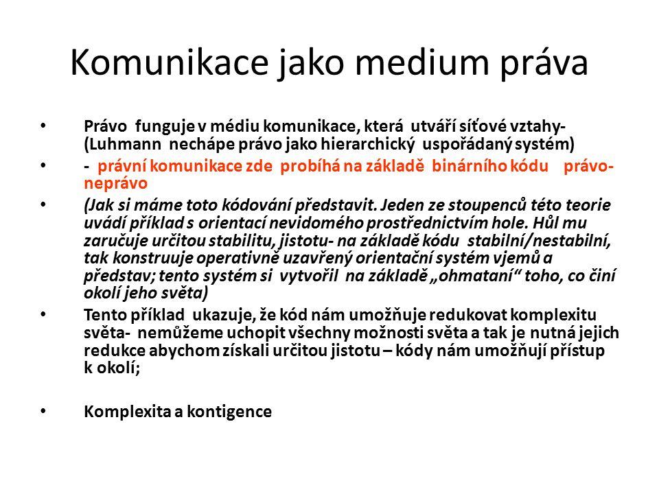 Komunikace jako medium práva Právo funguje v médiu komunikace, která utváří síťové vztahy- (Luhmann nechápe právo jako hierarchický uspořádaný systém) - právní komunikace zde probíhá na základě binárního kódu právo- neprávo (Jak si máme toto kódování představit.