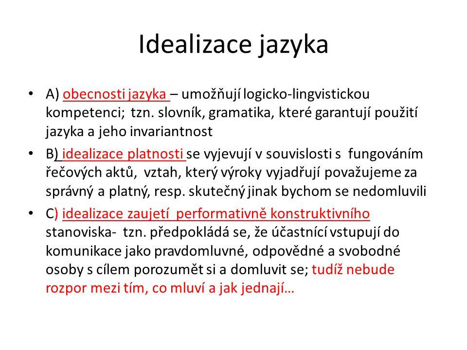 Idealizace jazyka A) obecnosti jazyka – umožňují logicko-lingvistickou kompetenci; tzn.