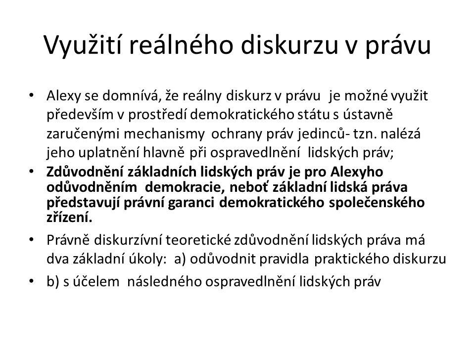 Využití reálného diskurzu v právu Alexy se domnívá, že reálny diskurz v právu je možné využit především v prostředí demokratického státu s ústavně zaručenými mechanismy ochrany práv jedinců- tzn.