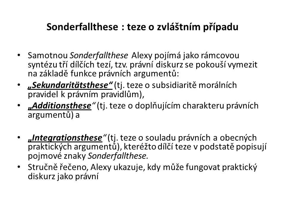 Sonderfallthese : teze o zvláštním případu Samotnou Sonderfallthese Alexy pojímá jako rámcovou syntézu tří dílčích tezí, tzv.