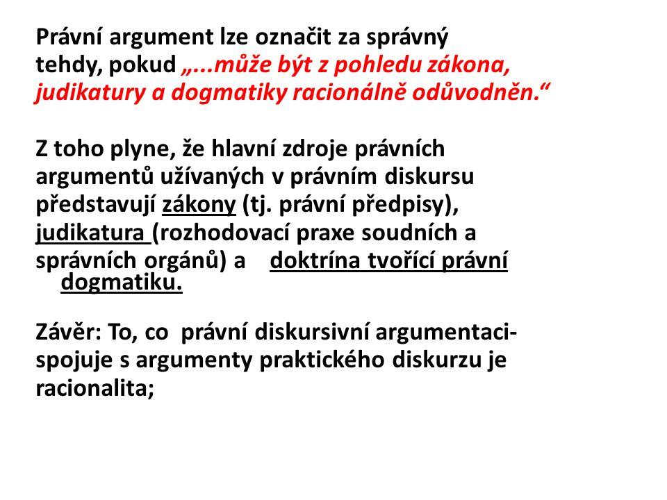 """Právní argument lze označit za správný tehdy, pokud """"...může být z pohledu zákona, judikatury a dogmatiky racionálně odůvodněn. Z toho plyne, že hlavní zdroje právních argumentů užívaných v právním diskursu představují zákony (tj."""