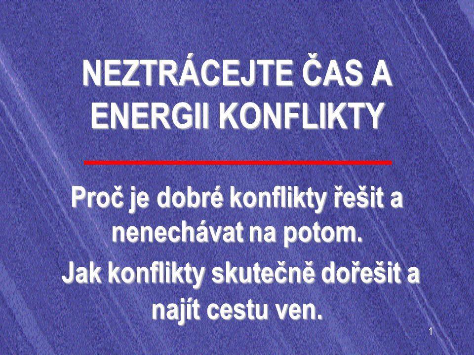 1 NEZTRÁCEJTE ČAS A ENERGII KONFLIKTY Proč je dobré konflikty řešit a nenechávat na potom.