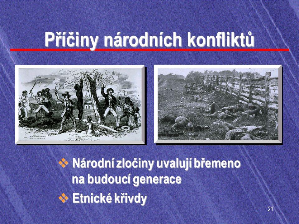 21 Příčiny národních konfliktů  Národní zločiny uvalují břemeno na budoucí generace  Etnické křivdy