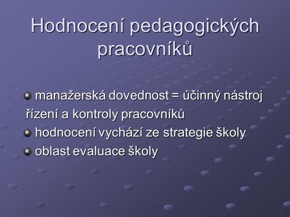 Hodnocení pedagogických pracovníků manažerská dovednost = účinný nástroj manažerská dovednost = účinný nástroj řízení a kontroly pracovníků řízení a k