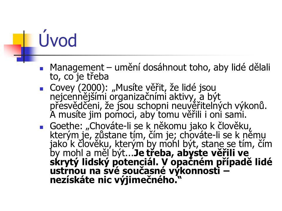 """Úvod Management – umění dosáhnout toho, aby lidé dělali to, co je třeba Covey (2000): """"Musíte věřit, že lidé jsou nejcennějšími organizačními aktivy,"""