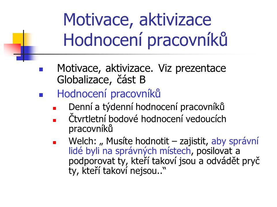 Motivace, aktivizace Hodnocení pracovníků Motivace, aktivizace. Viz prezentace Globalizace, část B Hodnocení pracovníků Denní a týdenní hodnocení prac