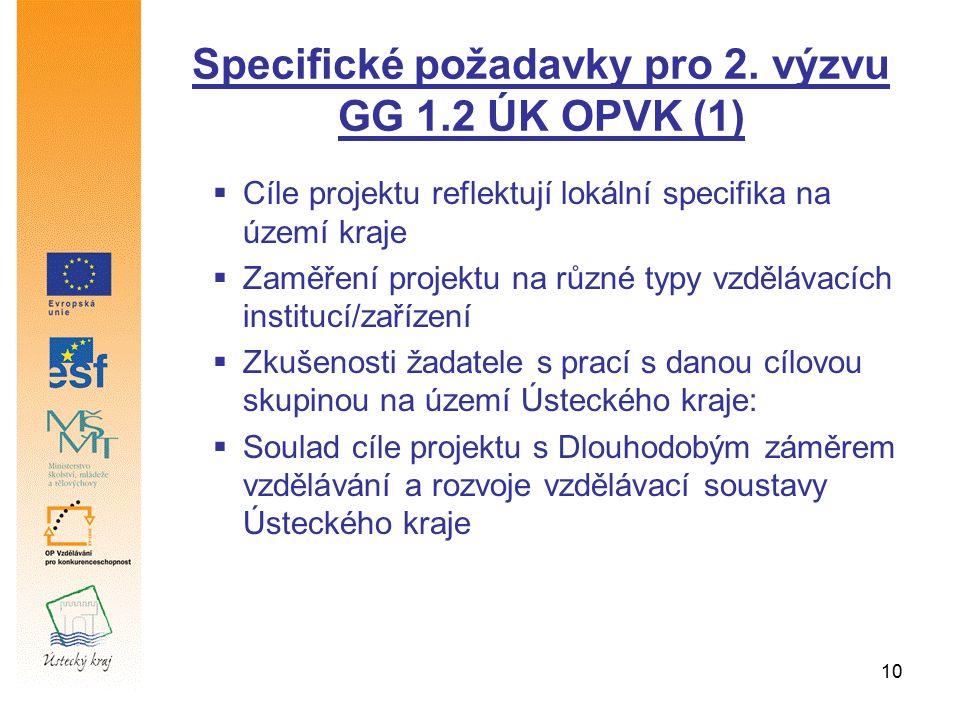 10 Specifické požadavky pro 2. výzvu GG 1.2 ÚK OPVK (1)  Cíle projektu reflektují lokální specifika na území kraje  Zaměření projektu na různé typy