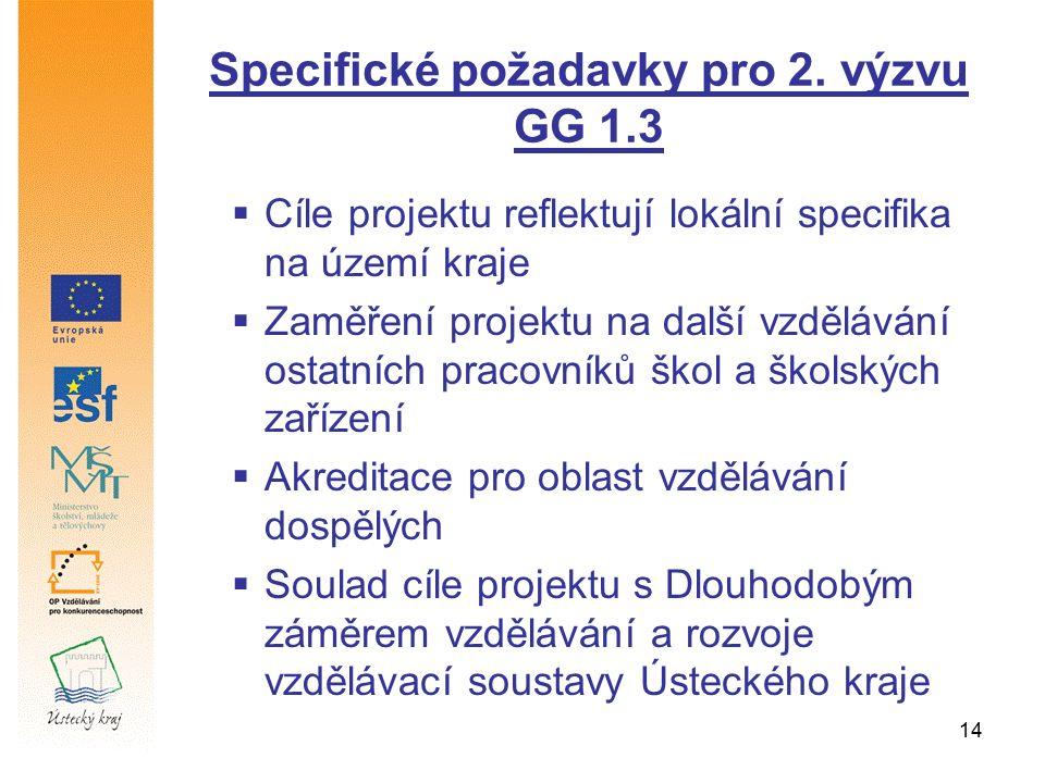 14 Specifické požadavky pro 2. výzvu GG 1.3  Cíle projektu reflektují lokální specifika na území kraje  Zaměření projektu na další vzdělávání ostatn