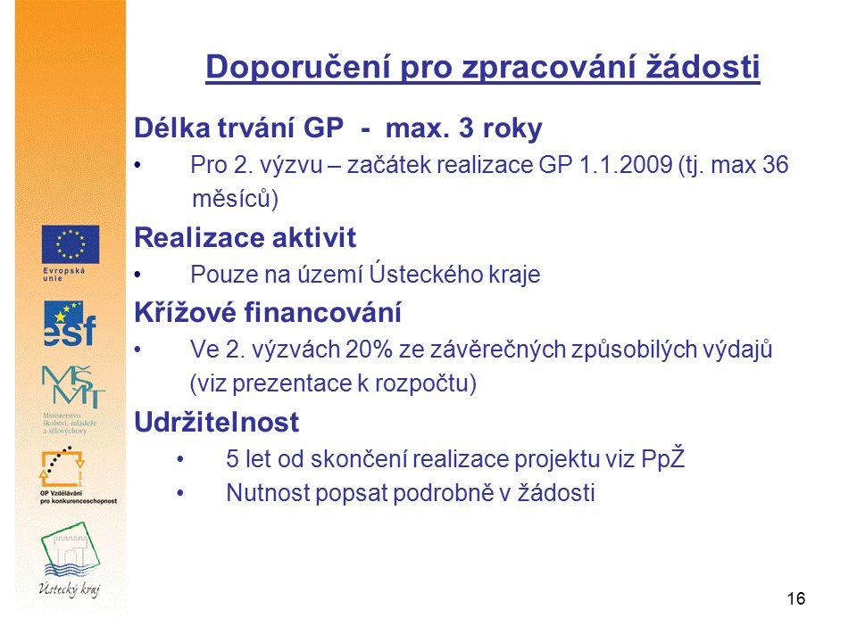 16 Délka trvání GP - max. 3 roky Pro 2. výzvu – začátek realizace GP 1.1.2009 (tj. max 36 měsíců) Realizace aktivit Pouze na území Ústeckého kraje Kří