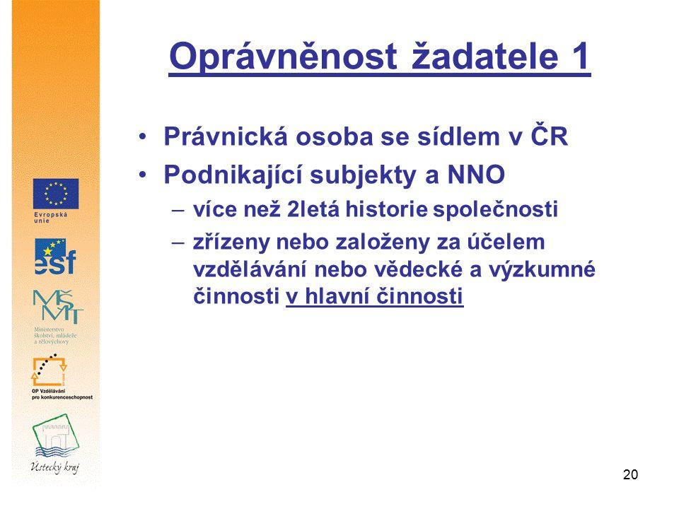 20 Oprávněnost žadatele 1 Právnická osoba se sídlem v ČR Podnikající subjekty a NNO –více než 2letá historie společnosti –zřízeny nebo založeny za úče