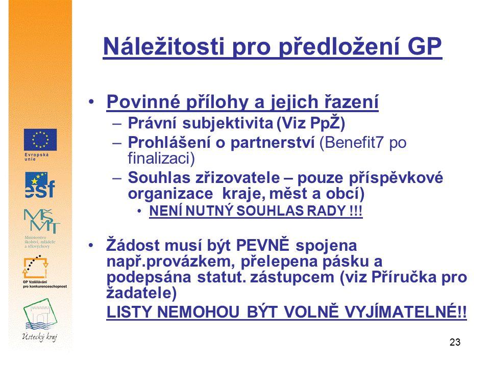 23 Náležitosti pro předložení GP Povinné přílohy a jejich řazení –Právní subjektivita (Viz PpŽ) –Prohlášení o partnerství (Benefit7 po finalizaci) –So
