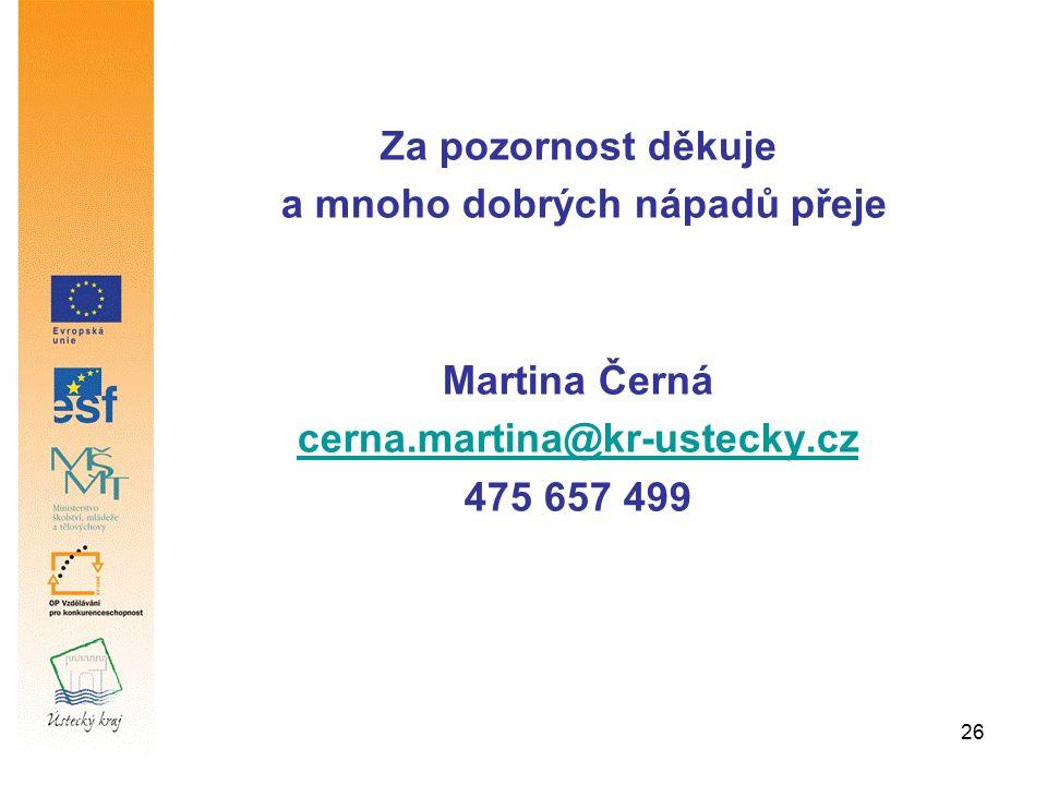 26 Za pozornost děkuje a mnoho dobrých nápadů přeje Martina Černá cerna.martina@kr-ustecky.cz 475 657 499