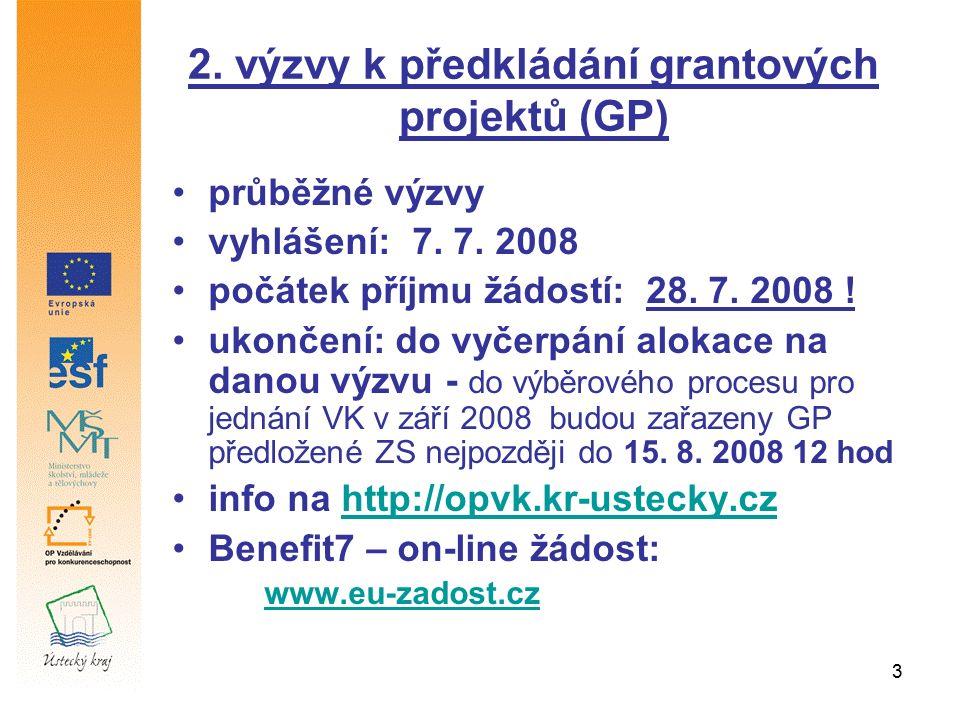 3 2. výzvy k předkládání grantových projektů (GP) průběžné výzvy vyhlášení: 7. 7. 2008 počátek příjmu žádostí: 28. 7. 2008 ! ukončení: do vyčerpání al