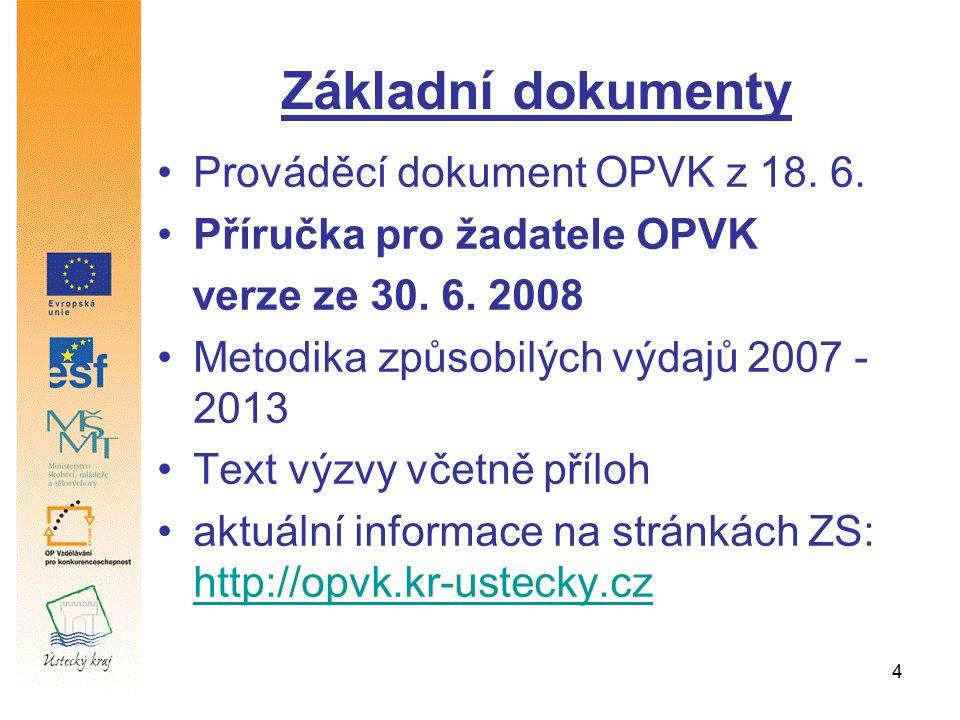 4 Základní dokumenty Prováděcí dokument OPVK z 18. 6. Příručka pro žadatele OPVK verze ze 30. 6. 2008 Metodika způsobilých výdajů 2007 - 2013 Text výz